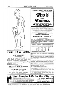 Advertising Page from The New Age